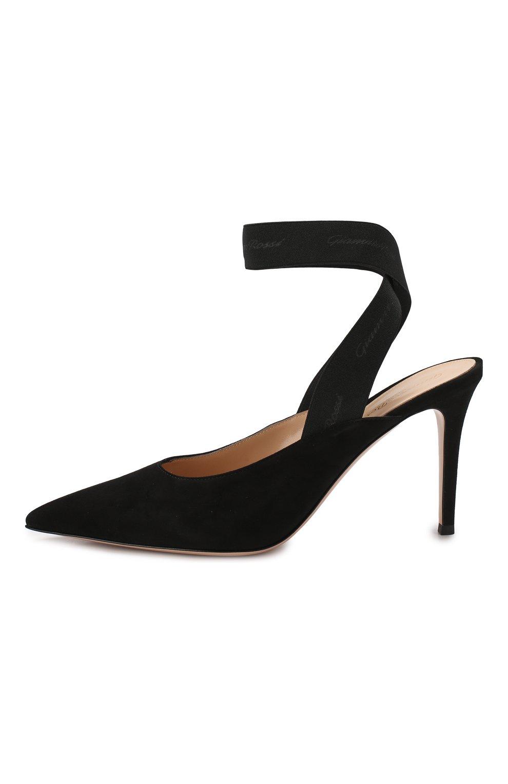 Замшевые туфли Delila 85 Gianvito Rossi черные   Фото №3