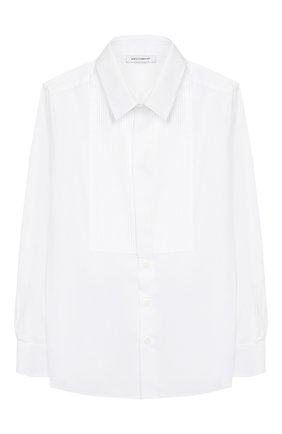 Детская хлопковая рубашка DOLCE & GABBANA белого цвета, арт. L42S55/FUEAJ/2-6 | Фото 1 (Статус проверки: Проверена категория; Материал внешний: Хлопок; Рукава: Длинные; Принт: Без принта; Случай: Формальный; Стили: Классический; Ростовка одежда: 2 года | 92 см, 3 года | 98 см, 4 года | 104 см, 5 лет | 110 см, 6 лет | 116 см)