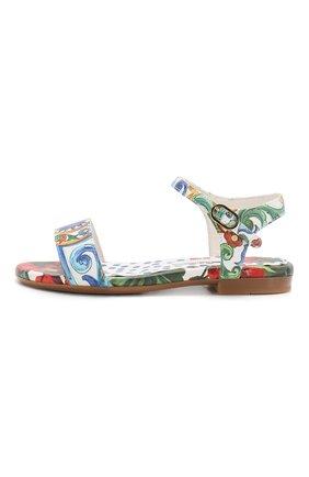 Детские кожаные сандалии DOLCE & GABBANA разноцветного цвета, арт. D10809/AC930/29-36 | Фото 2