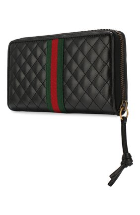 Женские кожаный кошелек trapuntata GUCCI черного цвета, арт. 536450/0YKBT | Фото 2
