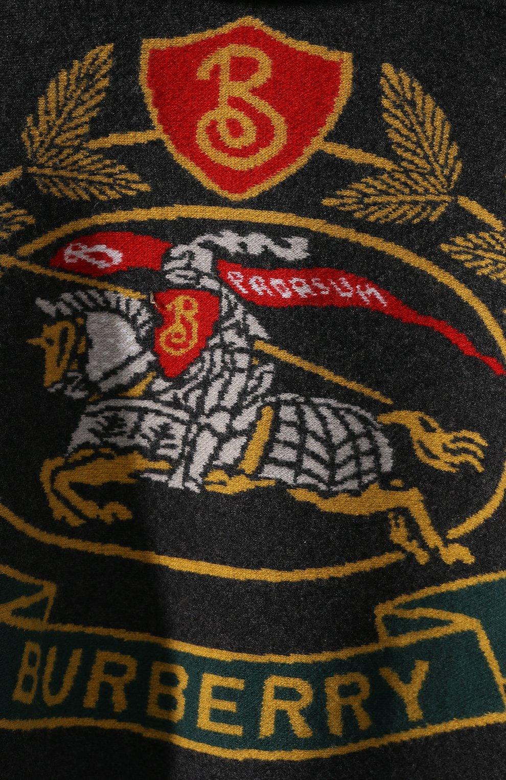 Шерстяное пончо Burberry темно-серая | Фото №5
