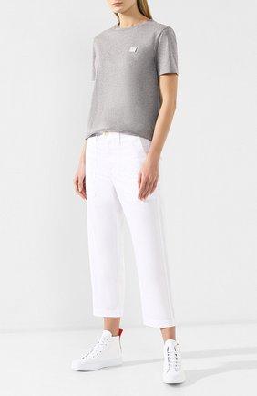 Женская хлопковая футболка ACNE STUDIOS светло-серого цвета, арт. AL0038   Фото 2