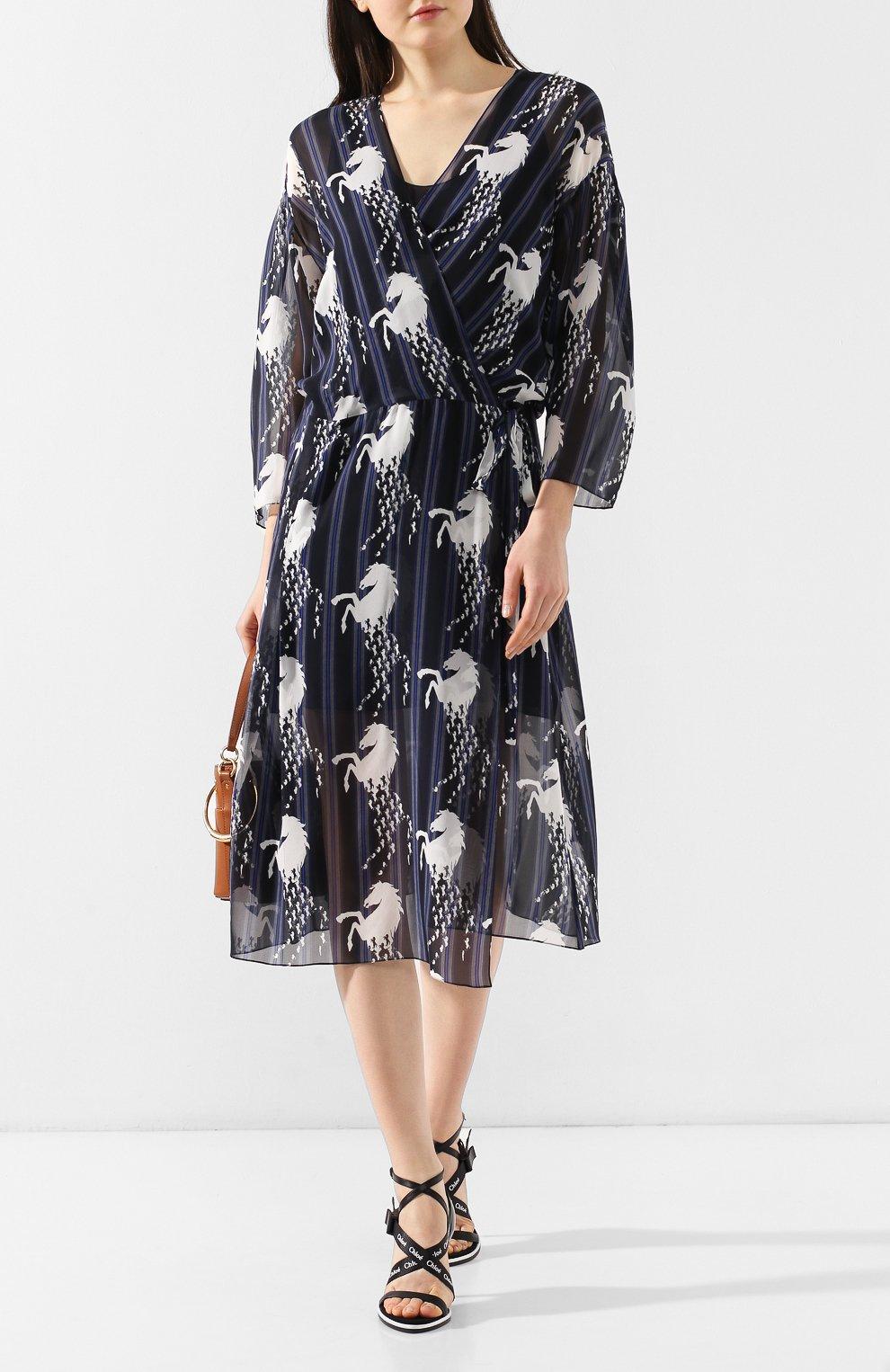 Шелковое платье Chloé синее | Фото №2
