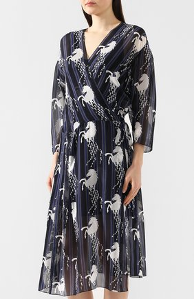 Шелковое платье Chloé синее | Фото №3