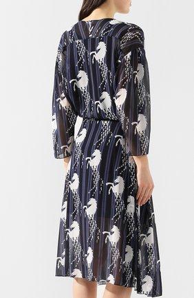 Шелковое платье Chloé синее | Фото №4