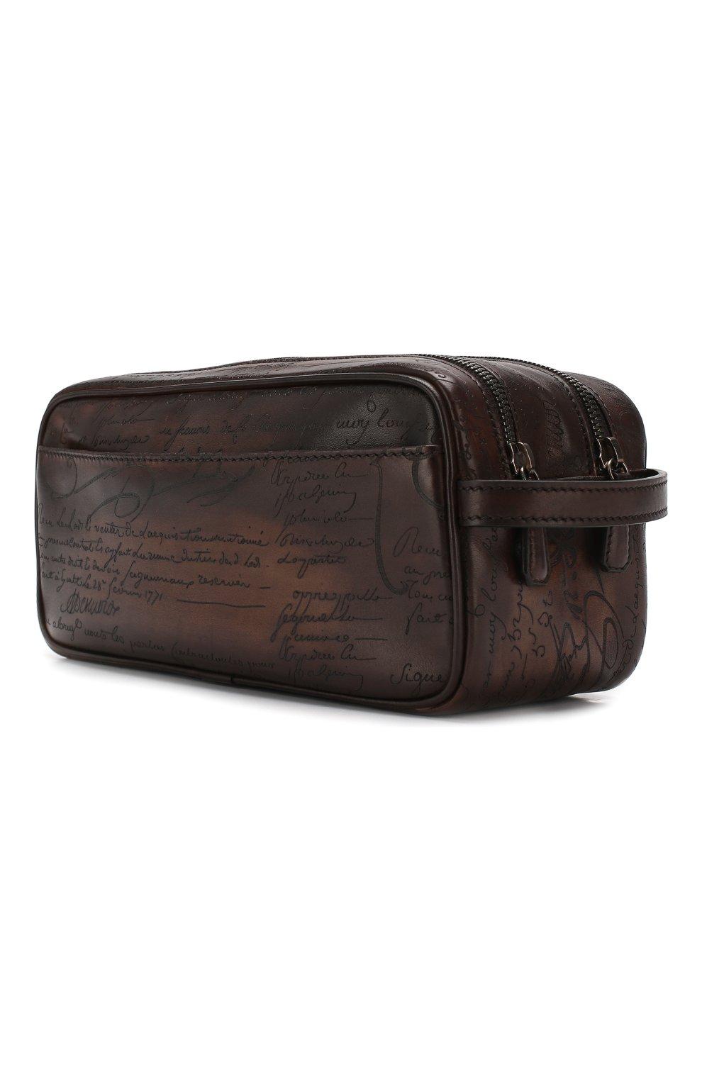 Мужской кожаный несессер BERLUTI темно-коричневого цвета, арт. N125311   Фото 2