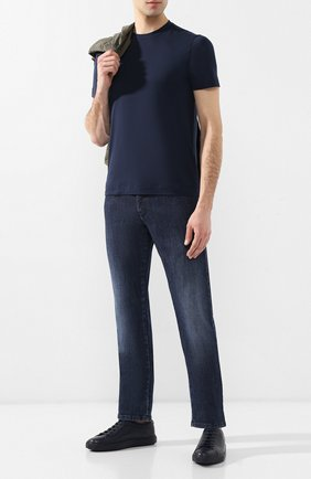 Мужская хлопковая футболка CRUCIANI темно-синего цвета, арт. CUJ0SB.G30   Фото 2