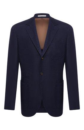 Мужской пиджак из смеси льна и шерсти BRUNELLO CUCINELLI синего цвета, арт. MH4227BND | Фото 1