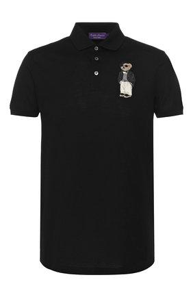 Мужское хлопковое поло RALPH LAUREN черного цвета, арт. 790736410 | Фото 1