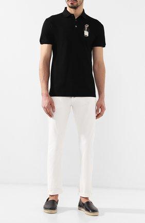 Мужское хлопковое поло RALPH LAUREN черного цвета, арт. 790736410 | Фото 2