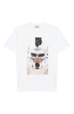 Детская хлопковая футболка NEIL BARRETT KIDS белого цвета, арт. 018621 | Фото 1