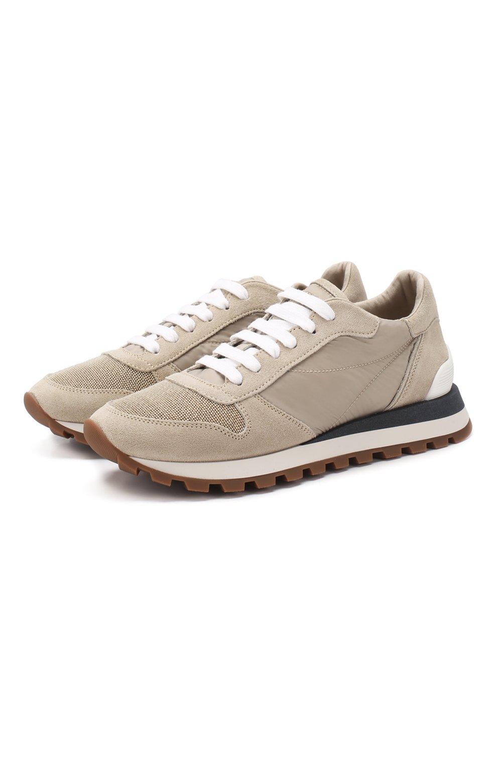 Комбинированные кроссовки Brunello Cucinelli бежевые | Фото №1