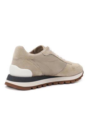 Комбинированные кроссовки Brunello Cucinelli бежевые | Фото №4