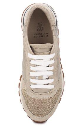 Комбинированные кроссовки Brunello Cucinelli бежевые | Фото №5