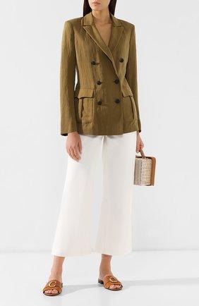 Женские кожаные шлепанцы CHLOÉ светло-коричневого цвета, арт. CHC19S13291 | Фото 2