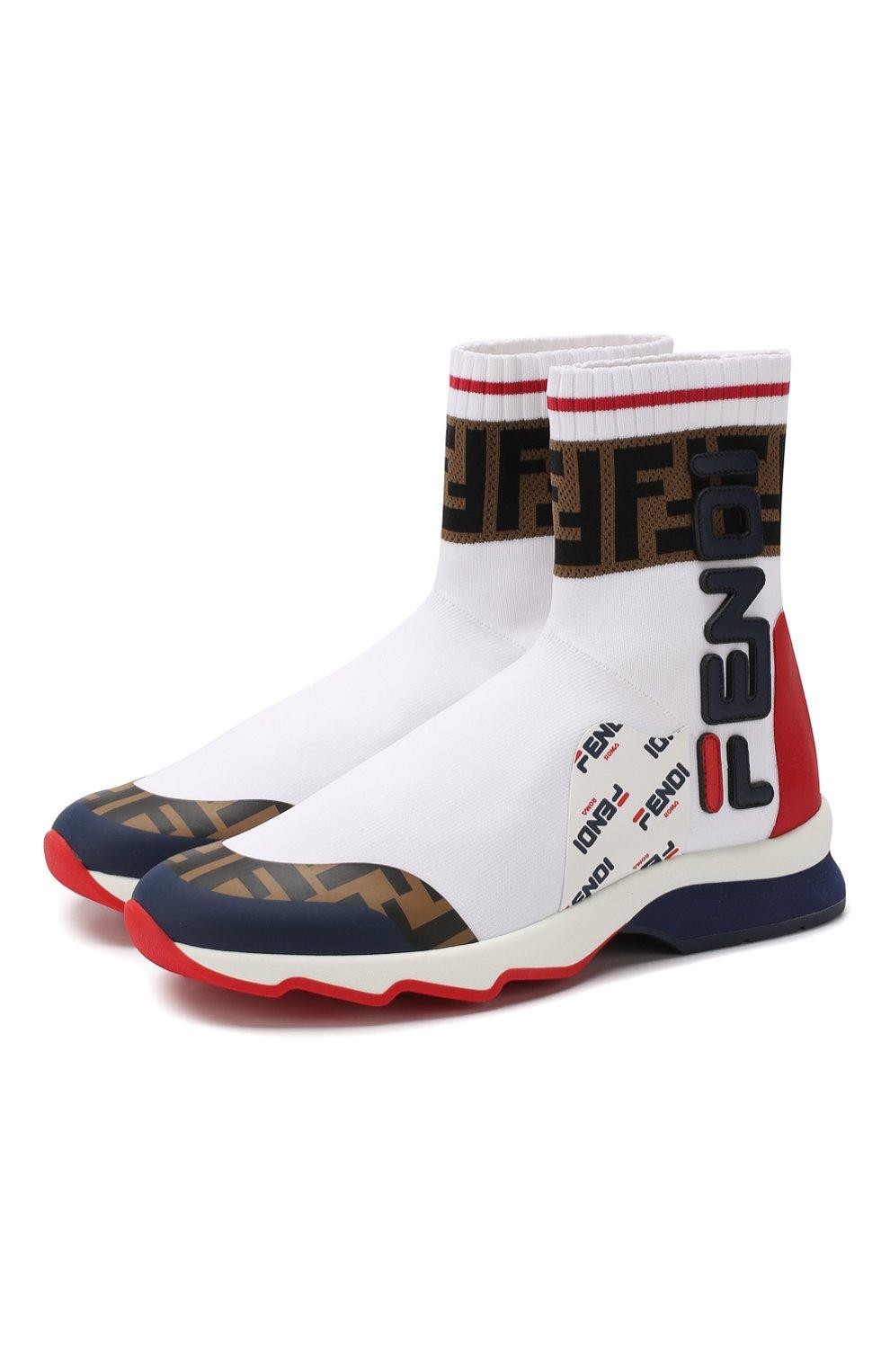 Текстильные кроссовки Fendi белые   Фото №1