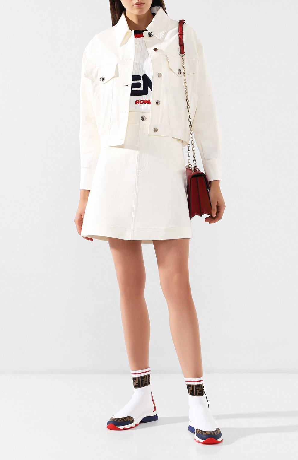 Текстильные кроссовки Fendi белые   Фото №2