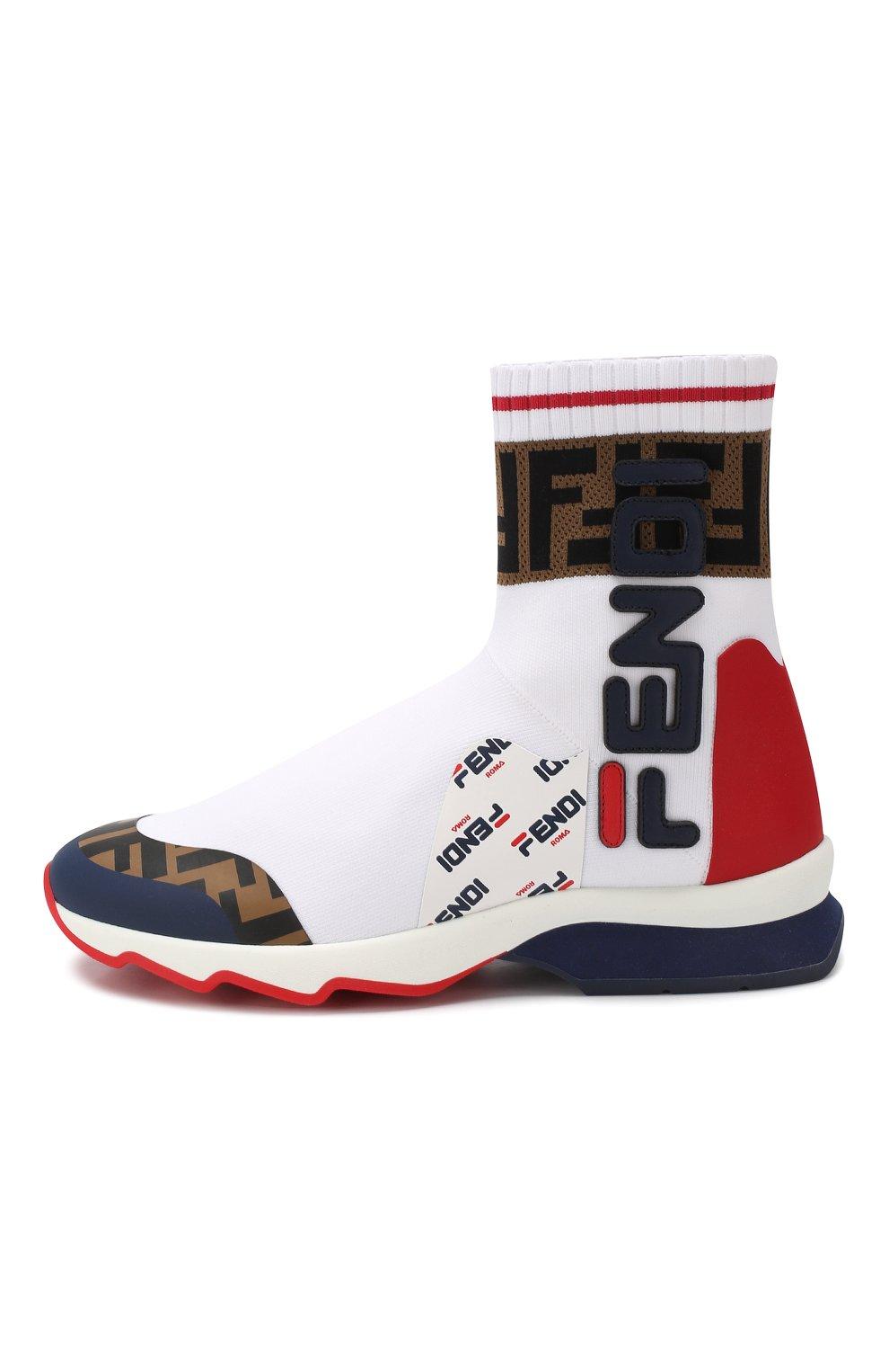 Текстильные кроссовки Fendi белые   Фото №3
