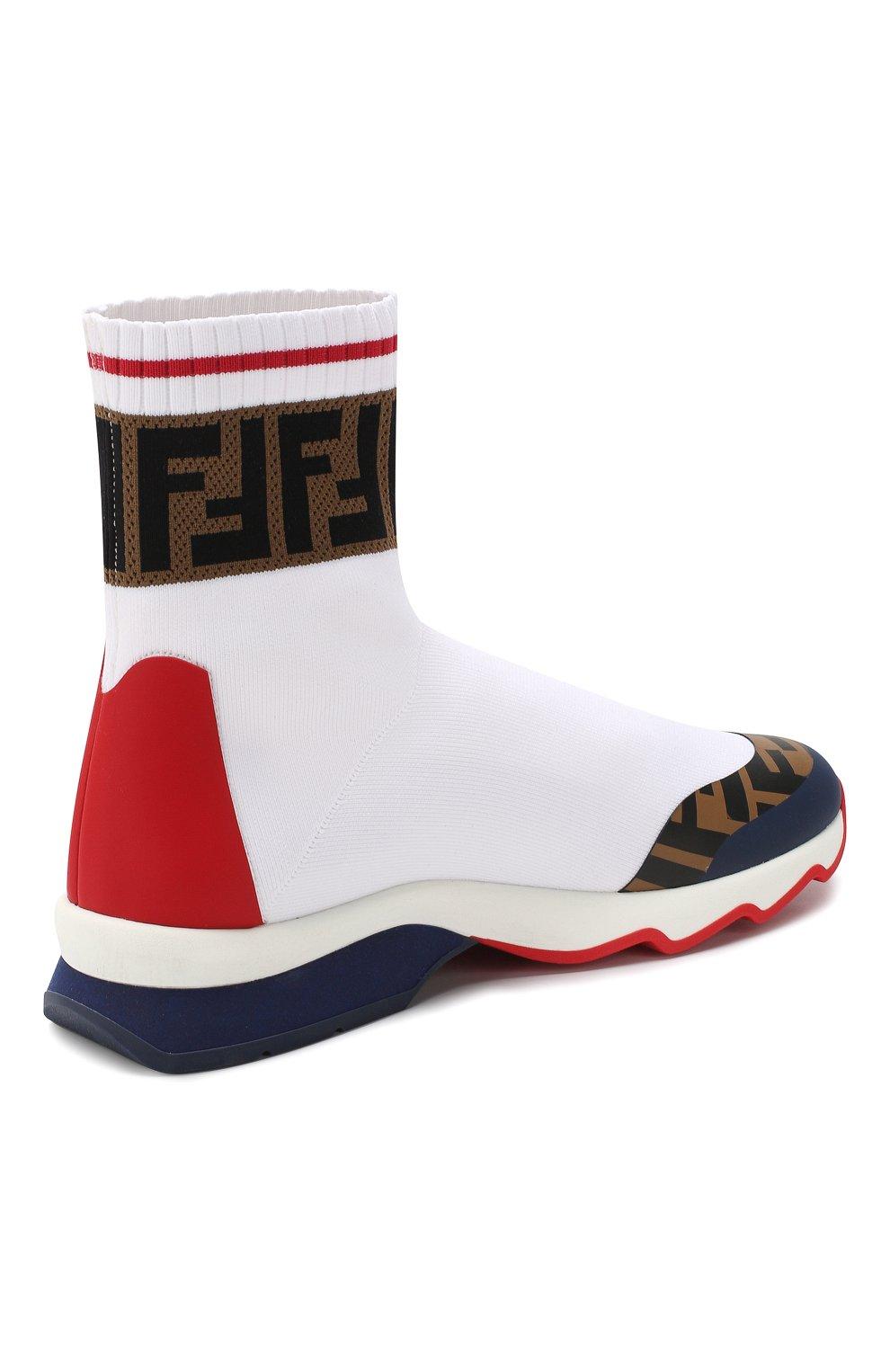 Текстильные кроссовки Fendi белые   Фото №4