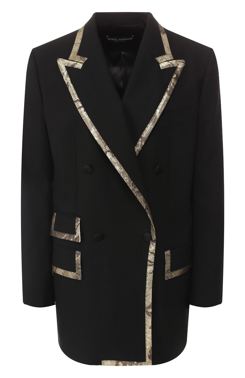 Жакет из смеси шерсти и шелка Dolce & Gabbana черный | Фото №1