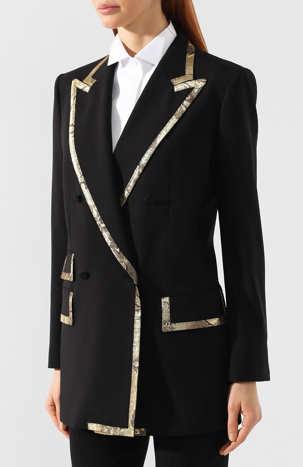 Жакет из смеси шерсти и шелка Dolce & Gabbana черный | Фото №3