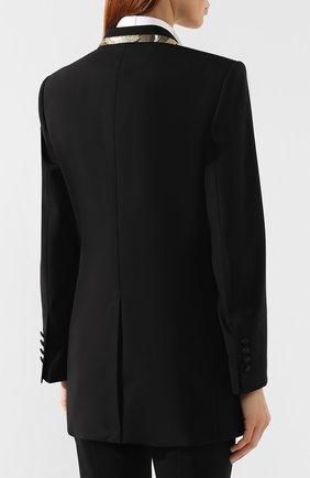 Жакет из смеси шерсти и шелка Dolce & Gabbana черный | Фото №4