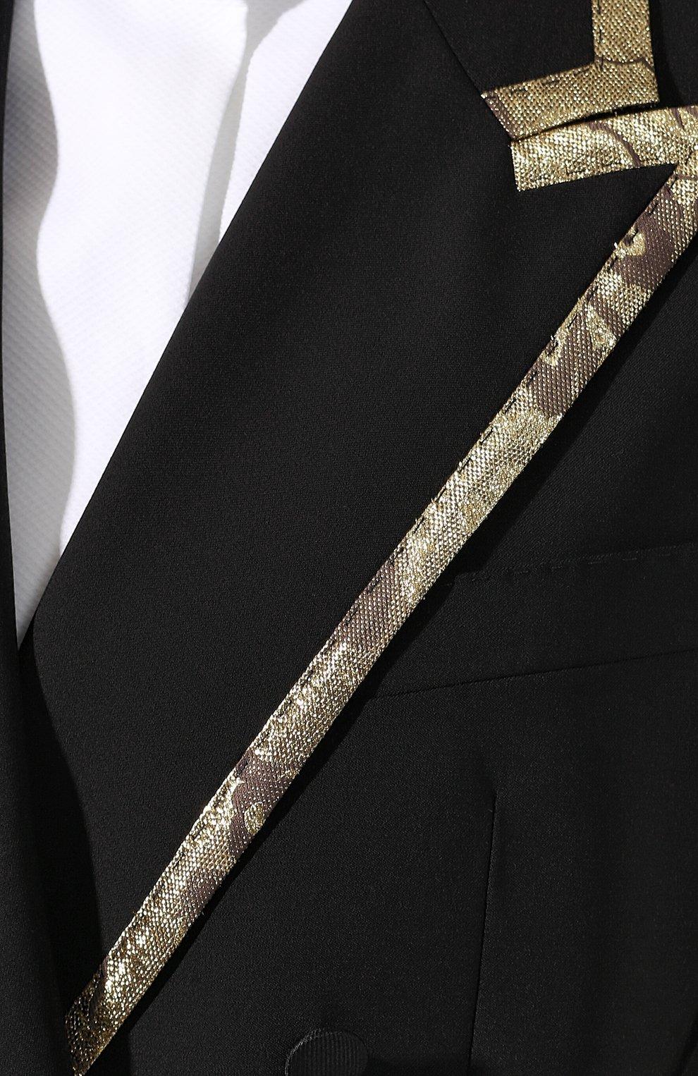 Жакет из смеси шерсти и шелка Dolce & Gabbana черный | Фото №5