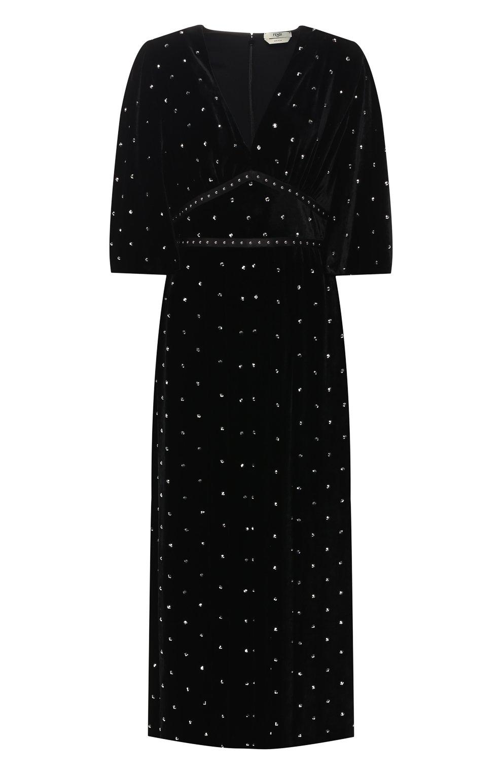 a9516c3df6251d4 Женское черное бархатное платье FENDI — купить за 354900 руб. в ...