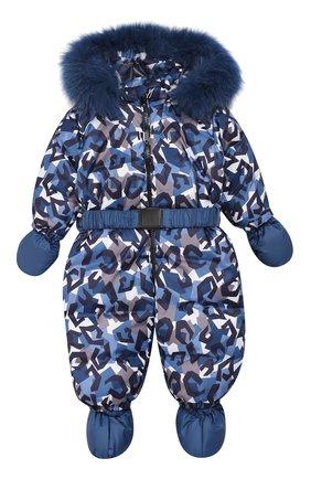 Детский пуховый комбинезон геометрия CHEPE темно-синего цвета, арт. 391788 | Фото 1