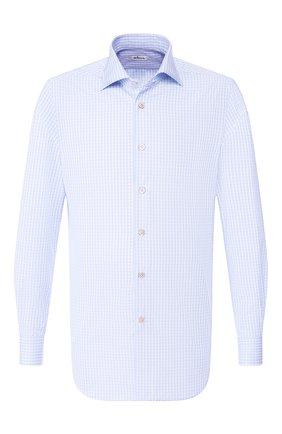 Мужская хлопковая рубашка с воротником кент KITON голубого цвета, арт. UCIH0692608 | Фото 1