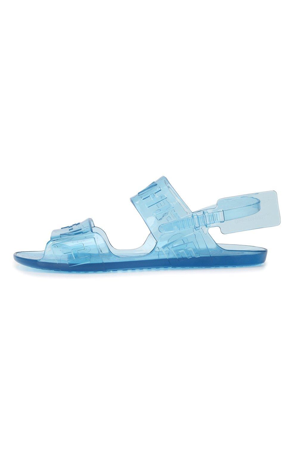 Резиновые сандалии Zip Tie Off-White синие   Фото №3