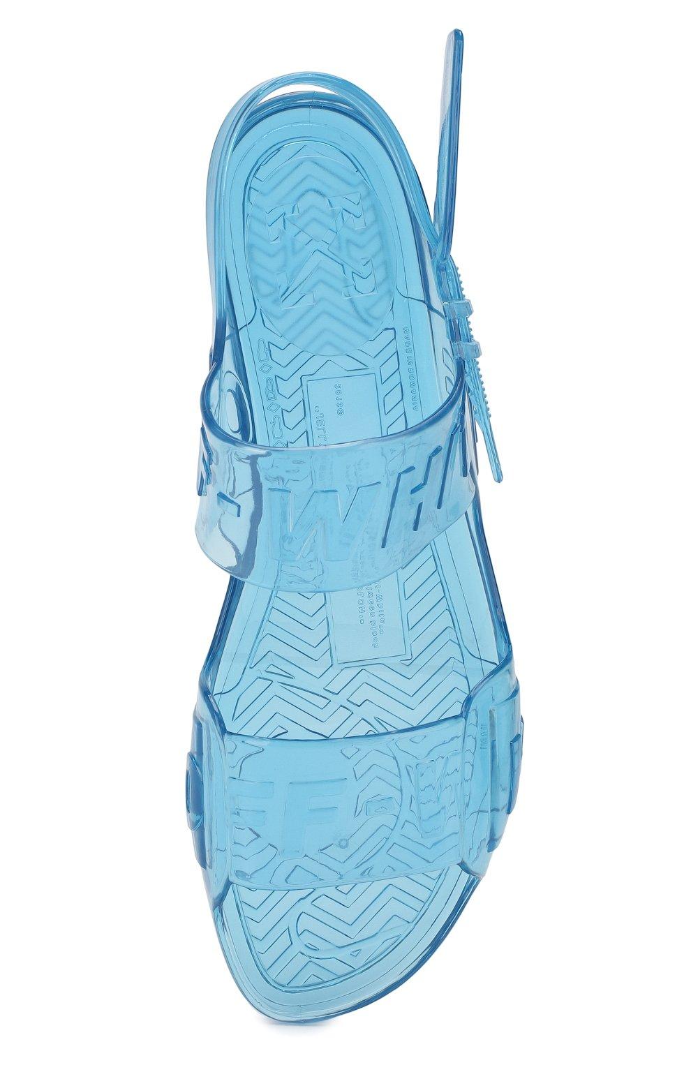 Резиновые сандалии Zip Tie Off-White синие   Фото №4