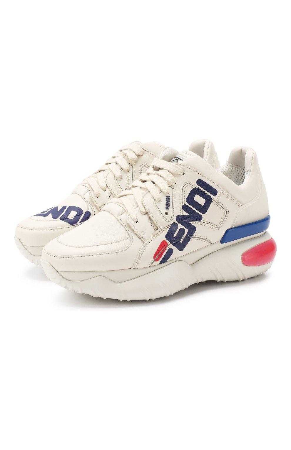 Кожаные кроссовки Fendi белые | Фото №1