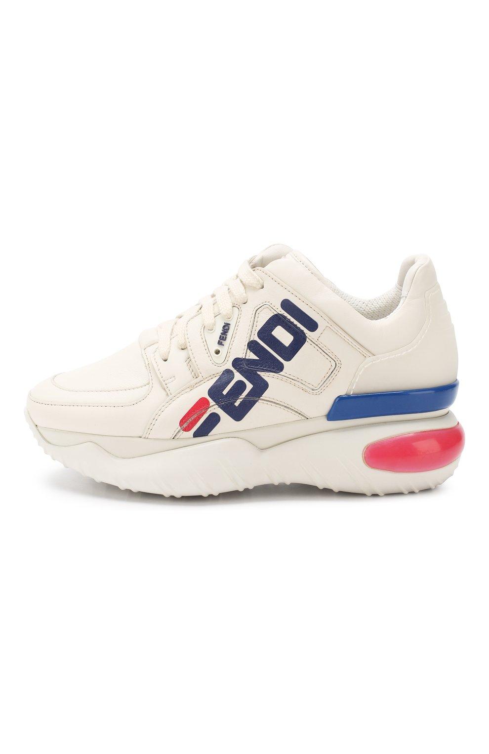 Кожаные кроссовки Fendi белые | Фото №3