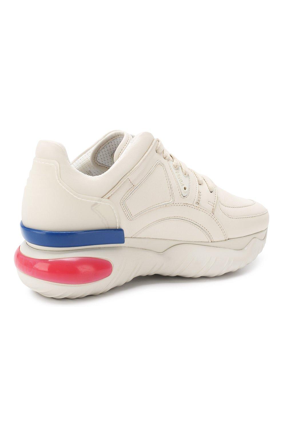 Кожаные кроссовки Fendi белые | Фото №4
