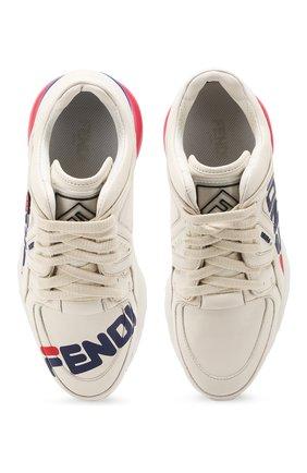 Кожаные кроссовки Fendi белые | Фото №5