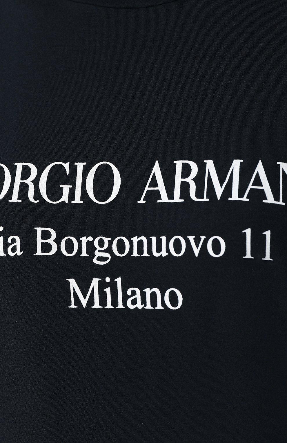 Футболка из вискозы Giorgio Armani черная | Фото №5