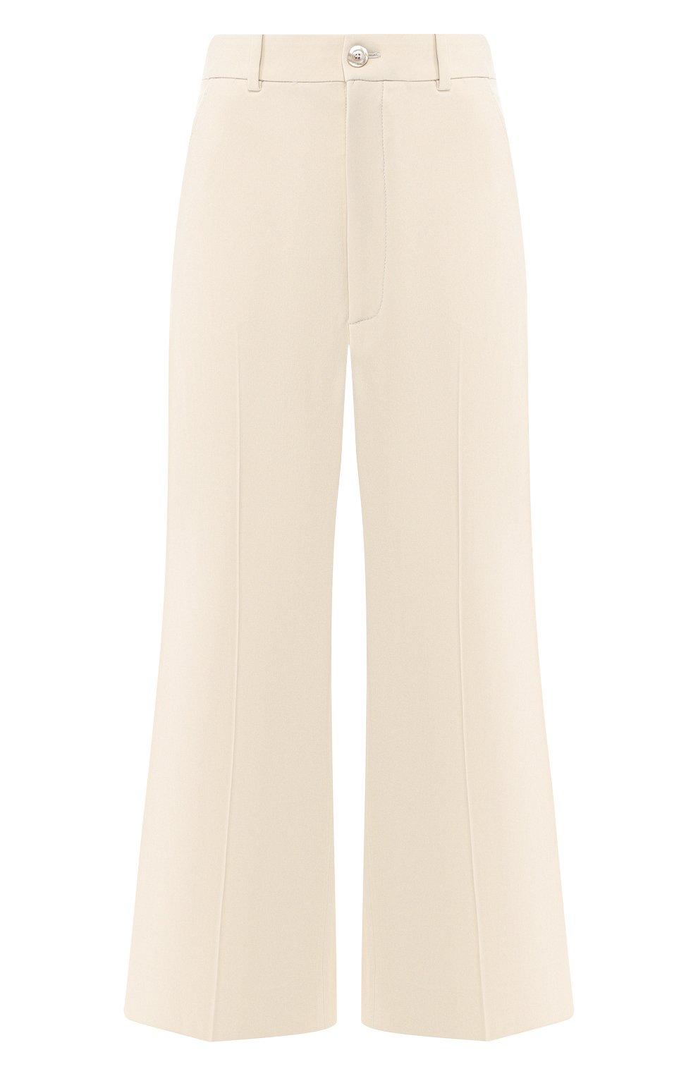 Укороченные брюки с лампасами Gucci кремовые | Фото №1