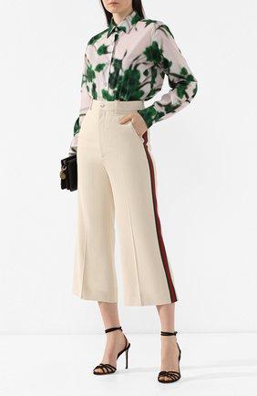 Укороченные брюки с лампасами Gucci кремовые | Фото №2