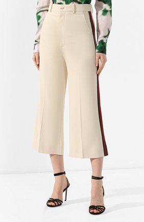 Укороченные брюки с лампасами Gucci кремовые | Фото №3