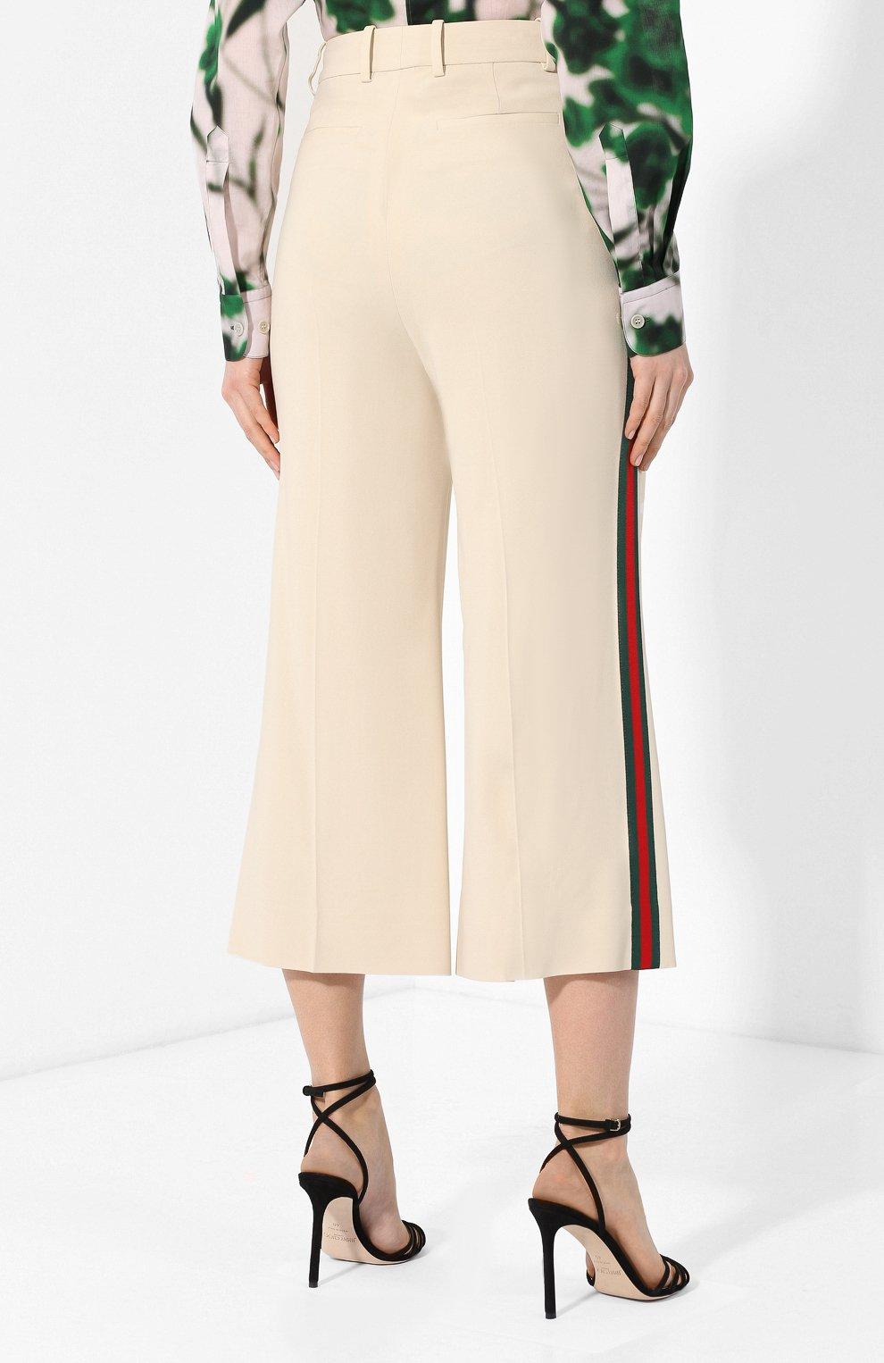 Укороченные брюки с лампасами Gucci кремовые | Фото №4