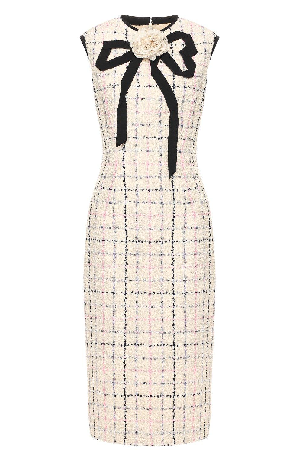 Буклированное платье Gucci кремовое | Фото №1