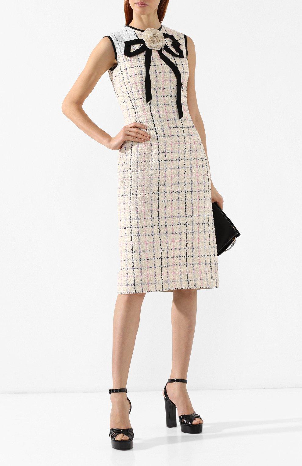 Буклированное платье Gucci кремовое | Фото №2
