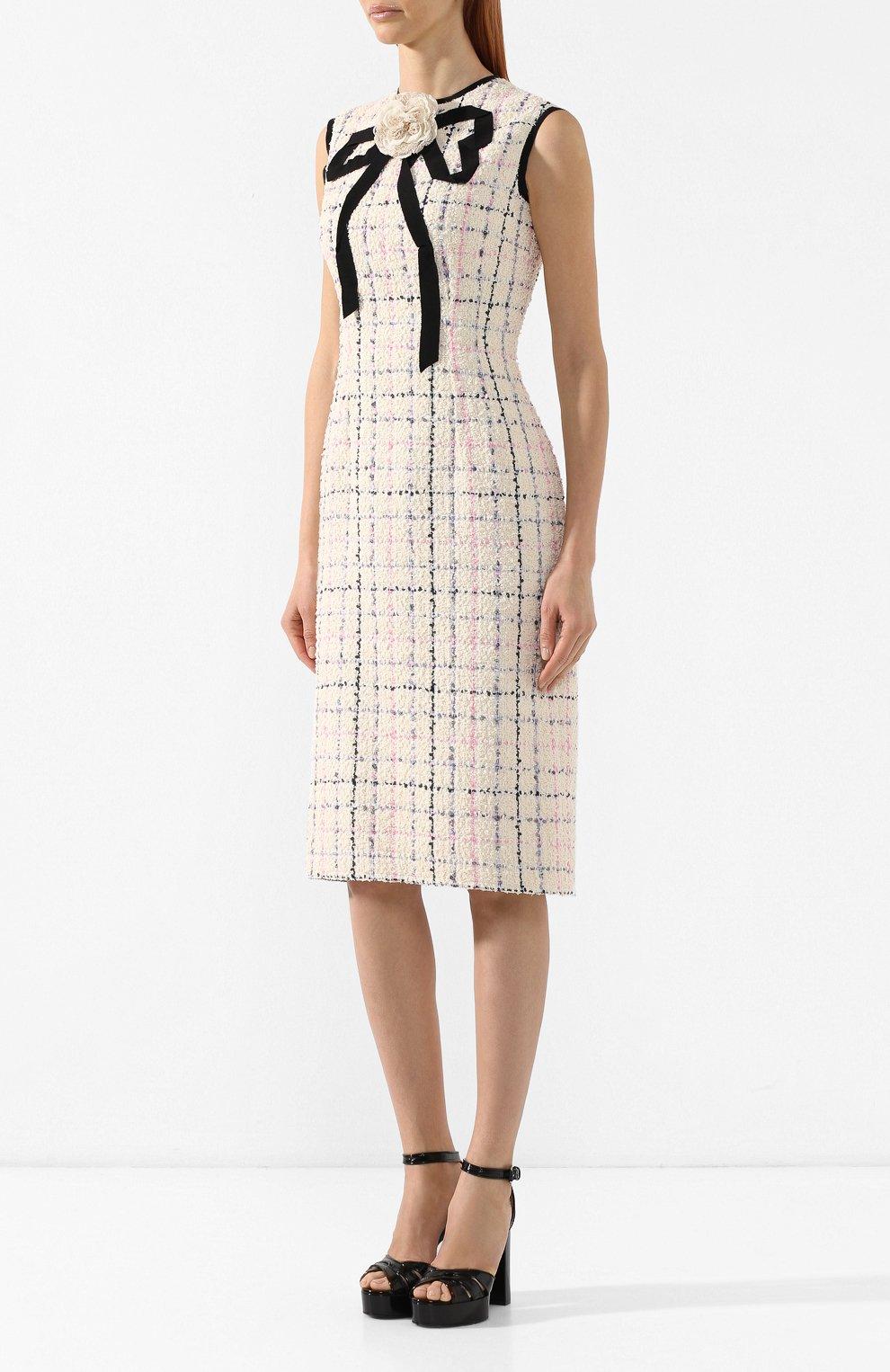 Буклированное платье Gucci кремовое | Фото №3