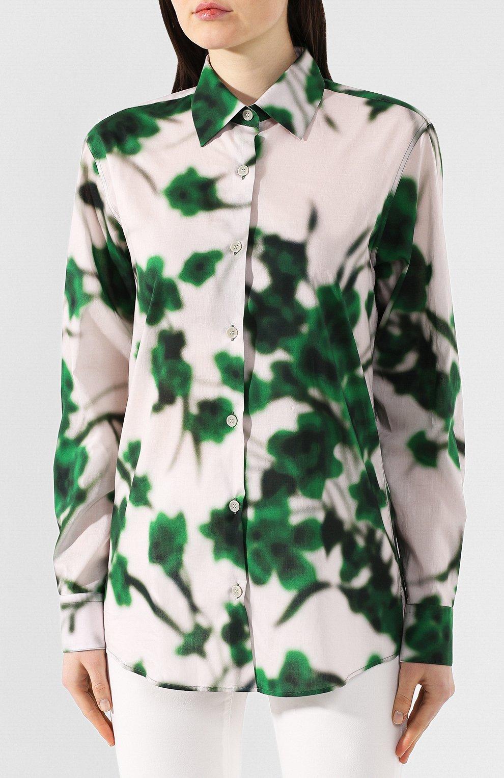 Хлопковая рубашка Dries Van Noten зеленая | Фото №3