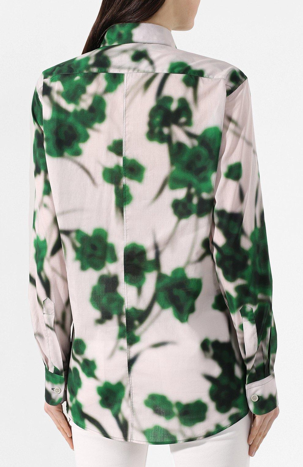 Хлопковая рубашка Dries Van Noten зеленая | Фото №4