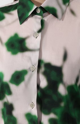 Хлопковая рубашка Dries Van Noten зеленая | Фото №5