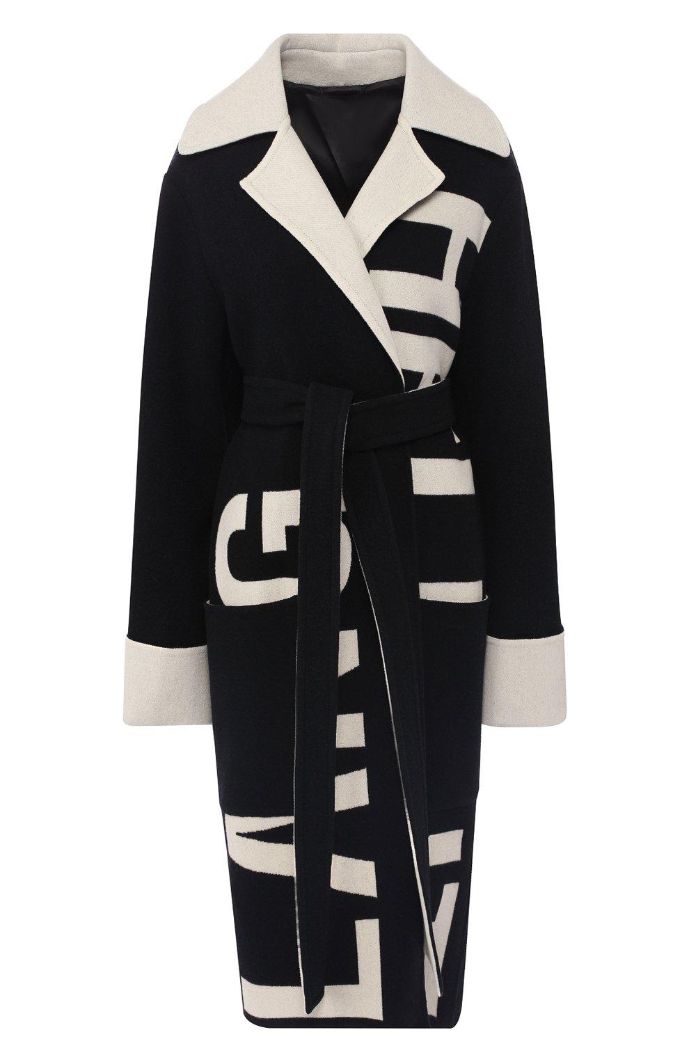 Шерстяное пальто Helmut Lang черно-белого цвета   Фото №1