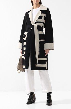 Шерстяное пальто Helmut Lang черно-белого цвета   Фото №2