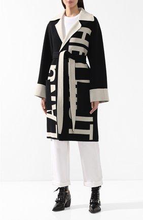 Шерстяное пальто Helmut Lang черно-белого цвета   Фото №3